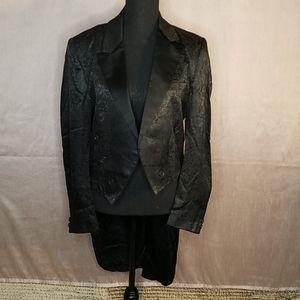 FALCONE Black Paisley Pattern Tailcoat